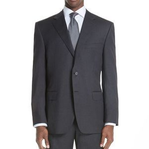 Canali Classic Fit 100% Wool Gray Suit Jacket 48L